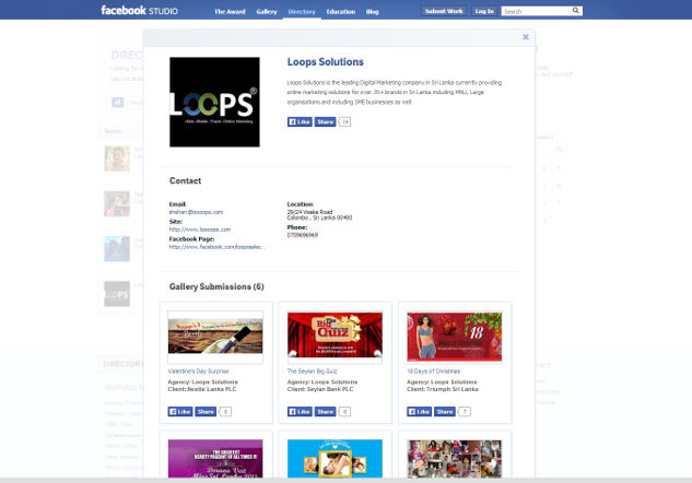 As of the time of writing, Loops has the most number of projects listed in Facebook Studio  out of all the Sri Lankan firms there.