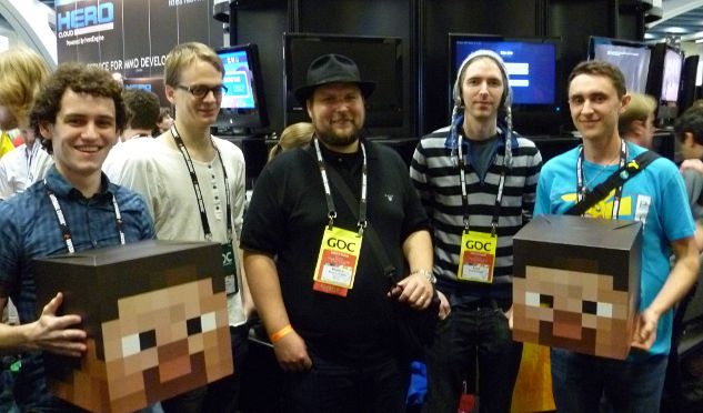 The Mojang team. The guy with the hat is Markus Persson, who started it all.