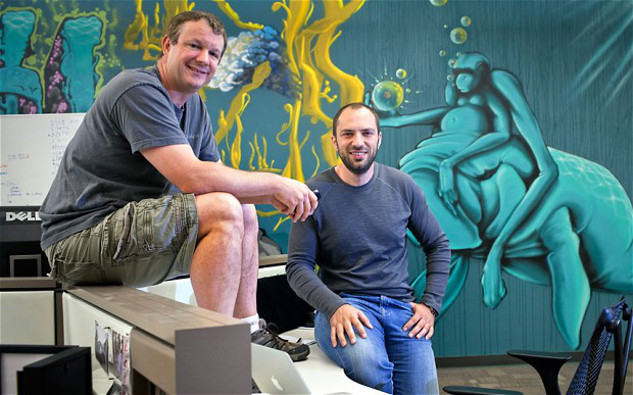 The founders of Whatsapp at their headquarters.